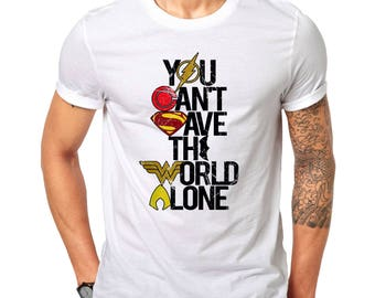JUSTICE LEAGUE - you can't SAVE the world alone - color logo - white