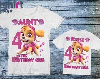Birthday Paw Patrol Shirts Skye Shirt For Girls Mommy Sister Personalised