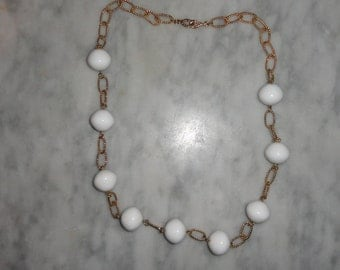 Vintage White Beaded and Gold Tone Rope Chain Necklace Retro MCM Mod SHIPS FREE