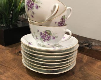 8 Saucers and 3 Cups- Antique-LS & S CARLSBAD AUSTRIA- white/purple floral