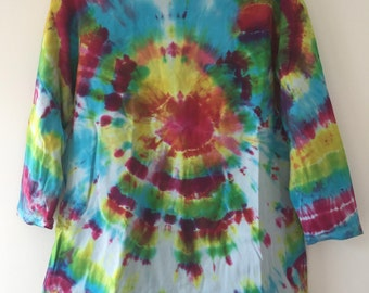 Vegan Watercolour Tie-dye Slash Neck 3/4 Sleeve Top