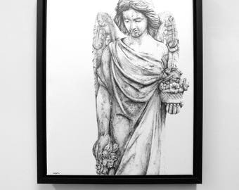 Angel Flowers - Pencil Drawing, Canvas Print, Paper Print