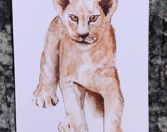 Baby lion cub watercolour print