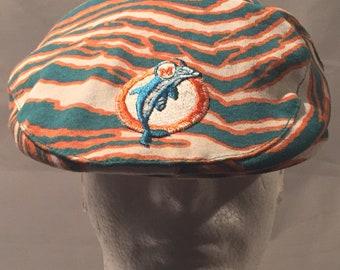 Vintage 1980's Miami Dolphins Zubaz Jeff Cap Hat- Neat vintage NFL piece