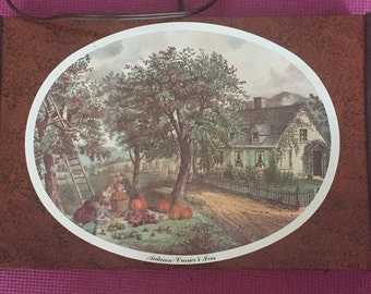 "Large 1970's Vintage Currier & Ives ""Autumn"" Warming Tray FREE SHIPPING"