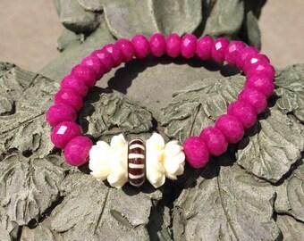 Fuchsia Chalcedony Tribal Stretch Bracelet