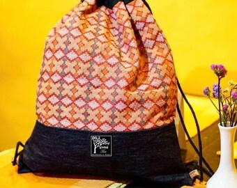 Drawstring Backpack- Made in Nepal-Beach Bag-Denim-Fabric-Dhaka-Gym Bag