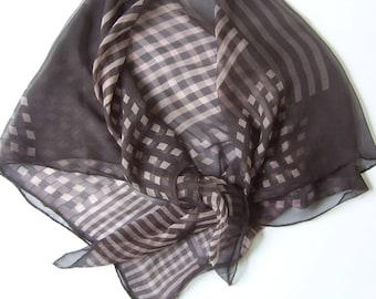 Urban Geometric hand printed silk chiffon scarf check and stripe design charcoal grey and taupe