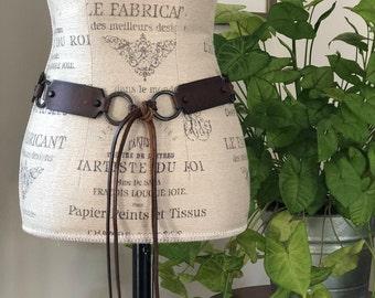 vintage leather link belt | womens