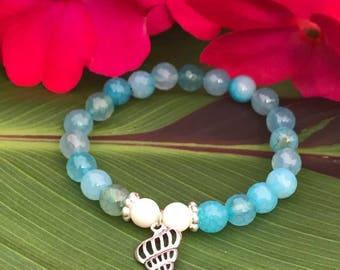 """Under the sea"" bracelet (blue agate)"