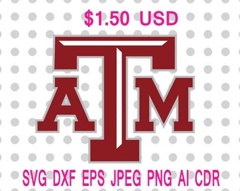 Texas A&M Aggies Logo Svg Dxf Eps Png Jpg Cdr Ai Cut Vector File Silhouette Cameo Cricut Design Vinyl Decal