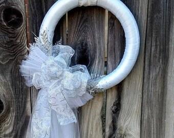 White Wreath, Bridal Wreath, Wedding Wreath, Satin Wreath, Bridal Shower Wreath, Embellished Wreath