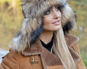 Women FOX FUR hat warm winter trapper hat pilot aviator with brown fur LEATHER hat with ear caps ear flaps luxury women gift gifts russian