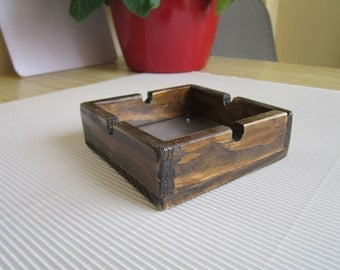 Wooden Ashtray with Inox bottom Brown