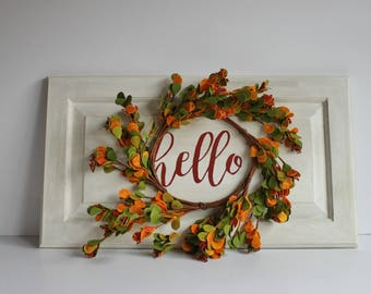 Hello Sign Wreath Sign Rustic Sign Cottage Decor White Sign Farmhouse Style Kitchen Sign Gallery Wall Decor Welcome Sign Mother's Day Gift