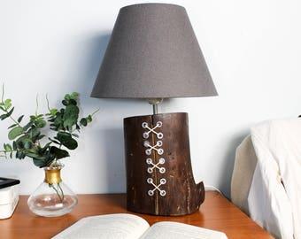 wooden lamp, rustic lamp, wood lamp, wood table lamp, office lamp, wood lamp shade, wood lightning, brown lamp, industrial table lamp,