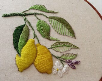 Lemon branch modern embroidery sketch