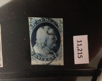 U.S. Postage Stamp 1851 One Cent Benjamin Franklin Blue, Scott #8, Genuine, Used.  Comes with Certificate.