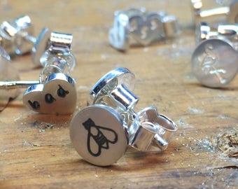 Sterling silver bee earring studs