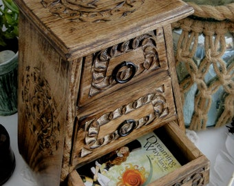 Triple Moon Three Drawer Wooden Chest