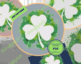St Patricks Day Cross Stitch Pattern Happinesst Stitchrovia Shamrock Embroidery Design Cool Xstitch Ireland 4-leaf Clover Irish Lucky Decor