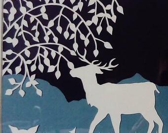 Stag family framed paper cut design