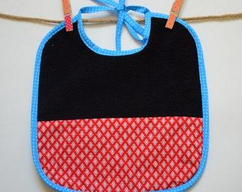 Baby tie bib Terry/cotton fabric