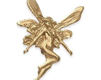 SOLID 9ct Gold Art Nouveau Style FAIRY Pendant (3.6 grams UK Hallmarked)