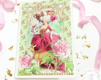Marie Antoinette Christmas card, deer card, reindeer, French vintage Rococo style, holiday card