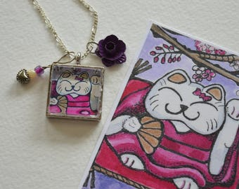 Lucky Cat Necklace, Lucky Cat Pendant, Cat Jewelry, White Cat Necklace, Cat Necklace, Cat Pendant, Neiko Cat Necklace, Lucky Cat Print, Art