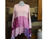 Lagenlook Tunic Top Pink Plaid Flannel Reconstructed  Hippie Clothes Boho Clothing Womens Plus Size