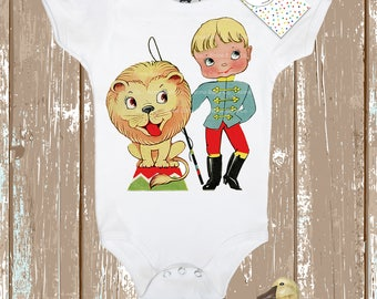 Shower Gift, Baby Gift, Circus Bodysuit, Lion Tamer, Baby Bodysuit, Infant One Piece, Vintage Graphic, Baby Shirt, Gift for Him