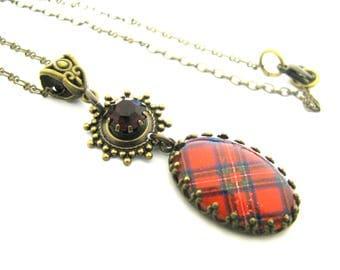 Scottish Tartan Jewelry - Royal Stewart Tartan Crown Edge Bezel Necklace w/35SS Light Sapphire Tiffany Set Charm