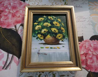 Miniature Oil Painting , Vivian Hollan Swain, Yellow Spring Time Flowers, Wicker Basket, Floral Arrangement, Poseys, Daisies, Texas Artist