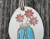 simplicity, clay plaque, mason jar, flowers
