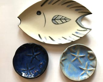 Fish dish Ceramic Plate and 2 small star fish soap ring trinket dishes gift set of 3 hand made nautical decor