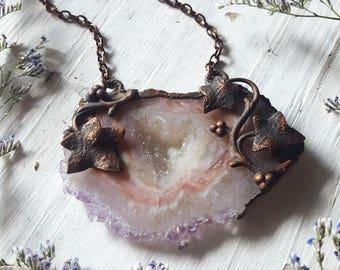 Amethyst Necklace - Amethyst Pendant - Pastel Pink Lavender Amethyst Slice - Copper Faerie Vines - Amethyst Druzy Necklace - Vyndelae