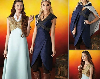 Medieval Dress and Cape Sewing Pattern - Simplicity 1008 Sewing Pattern, Misses' Fantasy Costumes - US Sizes: 6 -12 or 14 -22