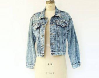 Vintage Denim Jacket Vintage Jean Jacket Studded Jacket 80s Denim Jacket Acid Wash Denim Jacket 80s Jean Jacket s