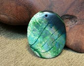 Reorganization Sale 30% off ~ Stone Green Porcelain Cracked Dragon Vein Agate Oval