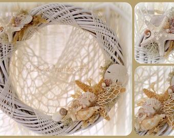 Seaside Wreath - Beach Cottage Decor - Beach Wedding Gift
