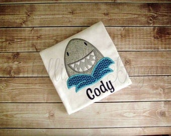 Shark with Name Appliqued T-shirt Personalized for Boys