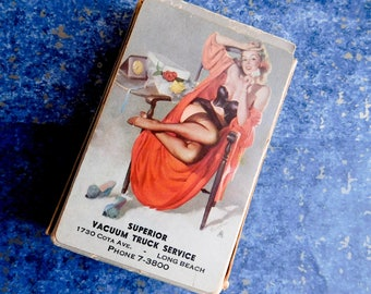 Vintage Mid-Century Pin-Up Advertising Playing Cards - Complete Bridge Deck + 2 Jokers - Brown & Bigelow Remembrance - Semi-Nude Woman