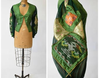 60s / 70s Authenticated Thea Porter Green Silk Blouse w Dramatic Patchwork Sleeves // Bohemian Chic Designer Vintage