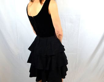 Cute Vintage Black Velvet 1950s 50s Ruffled Skirt Dress