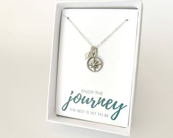 Custom Birthstone Necklace - Silver Compass Necklace - Sterling Silver Everyday Necklace - Moving Gift - Gift for Traveler