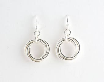 Sterling Silver Infinity Love Knot Chainmaille Earrings Mobius Chain maille