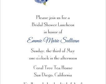 Printed Bridal Shower Birthday Party Bridesmaids Luncheon Anniversary Invitation - Hydrangea