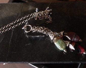 tassel necklace, chain necklace, gemstone necklace, agate necklace, long necklace, bold necklace, boho necklace, gemstone tassel, necklace