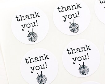 THANK YOU labels with ball of yarn and knitting needles - typewriter font labels - thank you stickers for knitting, crochet, yarn maker